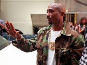 Rapper Tupac Shakur arrives at New York's Radio City Music Hall on Sept. 4, 1996.
