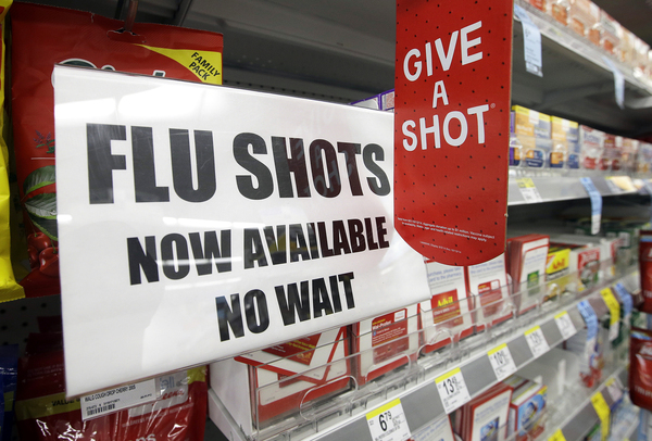"The start of flu season is still weeks or months away, but you can get a flu shot now at many pharmacies. ""It's a way to get people into the store to buy other things,"" says Tom Charland, an analyst who tracks the walk-in clinic industry."