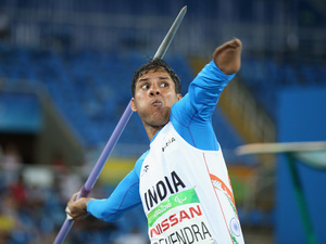 Devendra Jhajharia of India competes in the javelin throw at the 2016 Paralympic Games. The gold medal winner lost his left arm in an accident when he was 8.