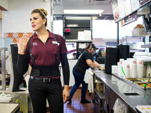 General Manager Kristy Ramirez helps a customer at one of the El Pollo Loco franchises owned by Michaela Mendelsohn in Southern California. Mendelsohn is a transgender activist who helped launch the nation's first large-scale jobs program for transgender people.