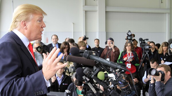 """Donald Trump in 2011 speaking to reporters in New Hampshire after President Obama released his long-form birth certificate. Trump said he was """"very proud"""" to have forced the White House's decision."""
