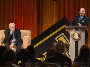 Jeff Ross (right) roasts TV analyst and former NFL quarterback Terry Bradshaw at the ESPN Super Bowl Roast in January 2015 in Phoenix, Ariz.
