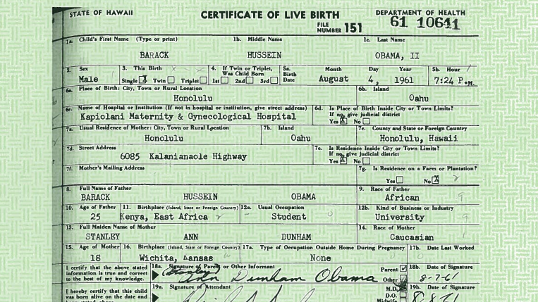 Trumps repeats baseless claim that clinton started the birther enlarge this image obamas birth certificate yadclub Images