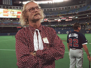 Canadian author W.P. Kinsella standing on the baseball field before game five of the 1992 World Series between Toronto Blue Jays and Atlanta Braves in Toronto, Ontario.