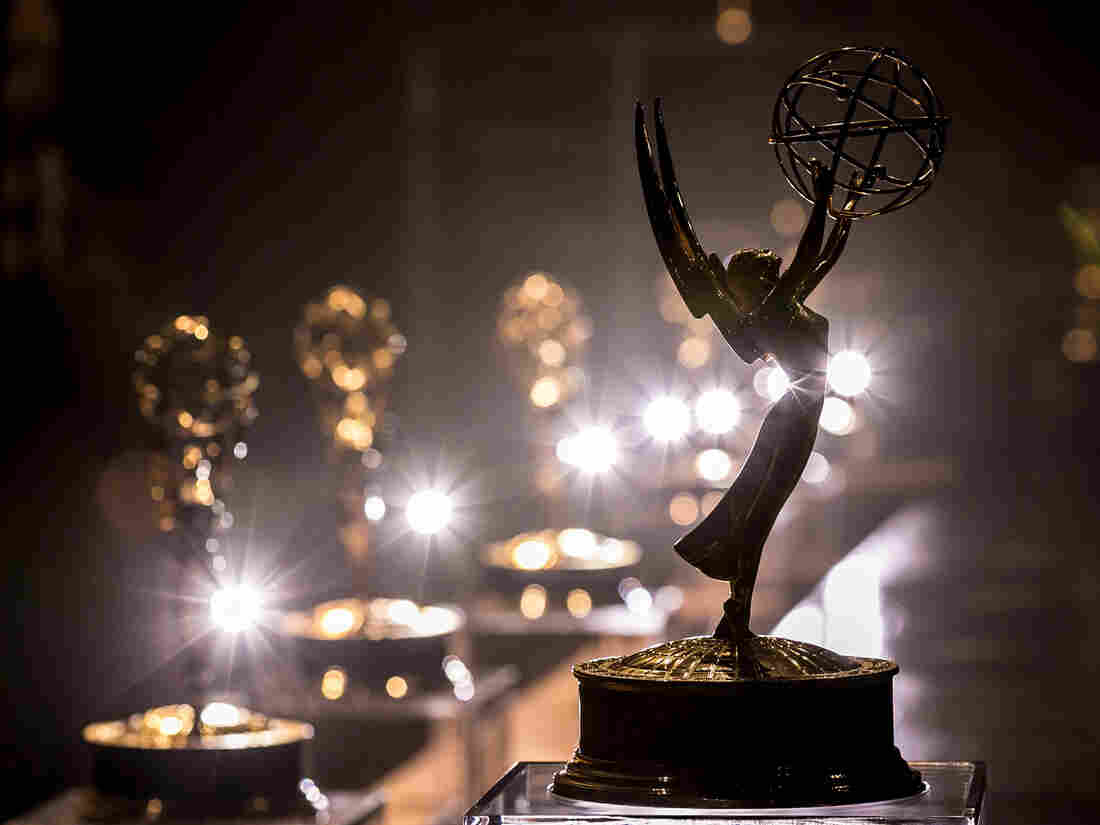 An Emmy statuette stands at a press conference before the 68th annual Emmys.
