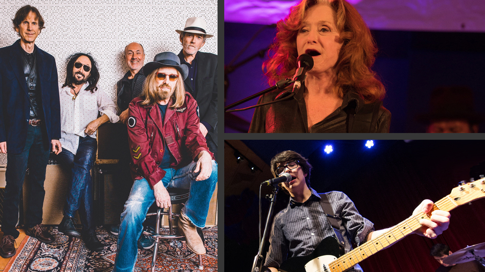 During this encore week, hear sessions with — clockwise from left — Mudcrutch, Bonnie Raitt (photo: Joe Del Tufo/WXPN) and Car Seat Headrest (photo: Jeremy Zimmerman/WXPN). (Courtesy of the artist)