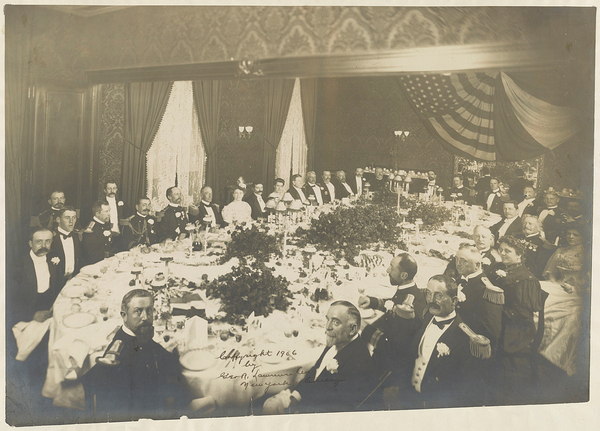 """""""You can't have the modern American restaurant without Delmonico's,"""" explains Yale historian Paul Freedman. The restaurant opened in 1837, setting the bar very high for fine dining. Above, a dinner in honor of an admiral held at Delmonico's in 1906."""