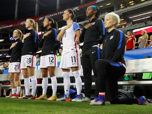 Megan Rapinoe kneels during the national anthem before the match between the United States and the Netherlands at the Georgia Dome on Sept. 18.