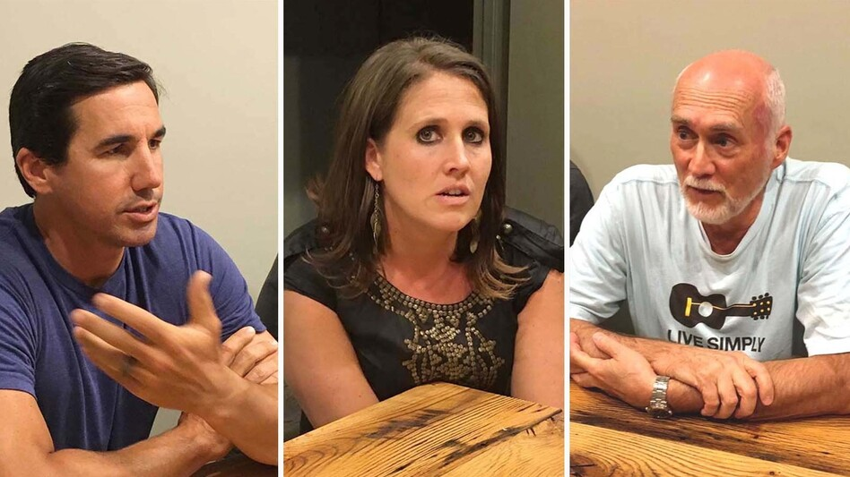 North Carolina voters (from left: David Cuthbert, Kristine Martin and Jack Lawrence) and members of the The Heart congregation, a church in Boone, N.C., all described their Christian beliefs as central to their lives. (NPR)