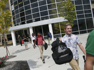 Students leave school at the end of the day at the Global Impact STEM Academy.