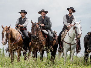 A group of seven bounty hunters, gamblers and hired guns (played by Byung-hun Lee, Ethan Hawke, Manuel Garcia-Rulfo, Denzel Washington, Chris Pratt, Vincent D'Onofrio and Martin Sensmeier) band together to protect a village in Antoine Fuqua's remake of The Magnificent Seven.