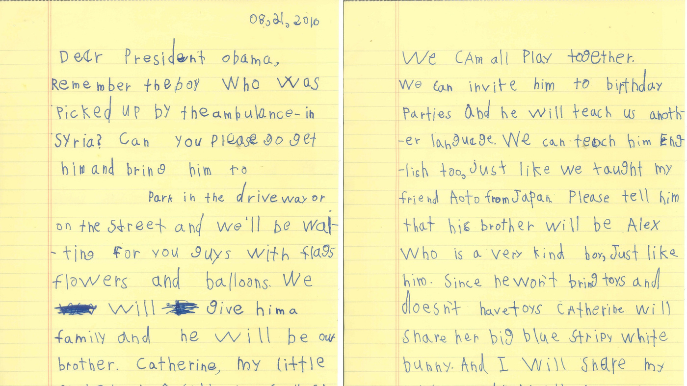 'he Will Be Our Brother': Boy, 6, Asks Obama To Bring Syrian Boy To Live  With Him : The Twoway : Npr