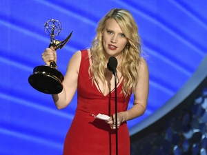 Kate McKinnon accepts the award for outstanding supporting actress in a comedy series for Saturday Night Live at the 68th Primetime Emmy Awards last Sunday.