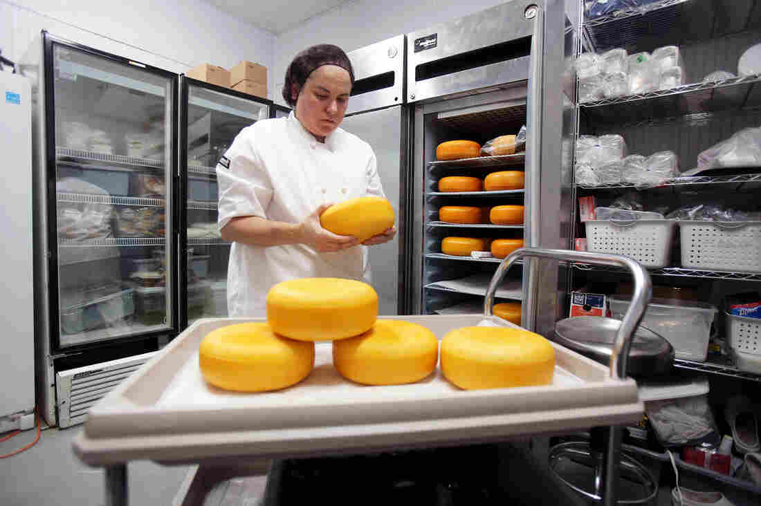 Ana Kelly flips Gouda cheese wheels, coated with an orange, wax rind, for aging evenly. The Gouda cheese wheels are stored in a temperature-controlled unit to mimic aging caves.