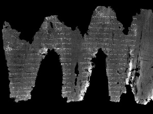 A virtually unwrapped image of writing on the inside of the partially destroyed Ein Gedi Scroll.
