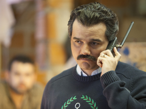 "Brazilian actor Wagner Moura plays Pablo Escobar in Netflix's Narcos. Executive producer Eric Newman says Escobar was ""very likely a sociopath, and certainly a terrorist."""
