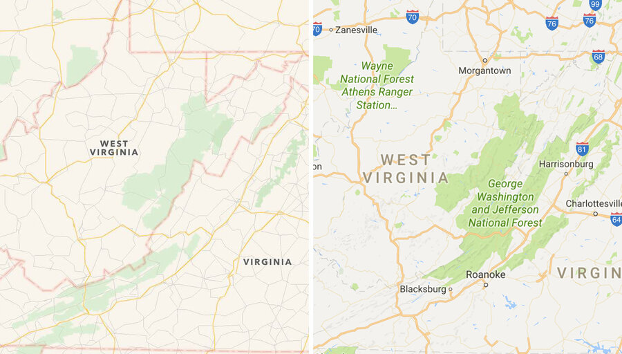 Apple Left And Google Right Present Different Parts Of The George Washington And Jefferson National Forests Along The Virginia West Virginia Border