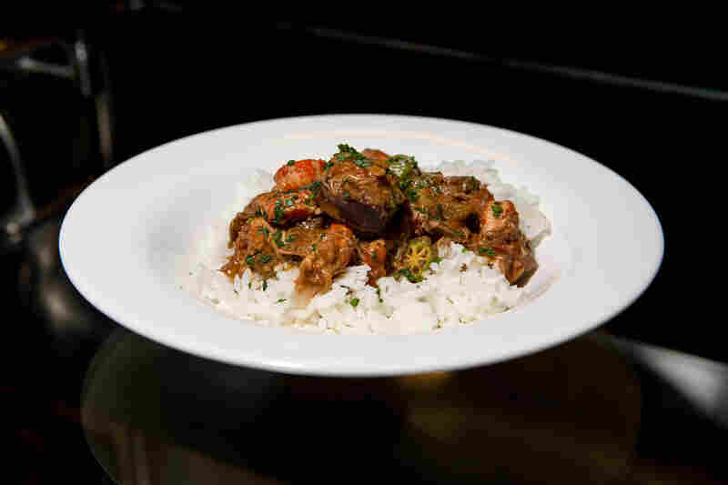 Duck, Andouille and Crawfish Gumbo, with Carolina rice and green onion, which is served in the Creole Coast section of the cafe.
