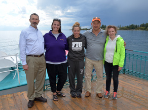 Sarah D'Antoni (center) and her crew at chilly, choppy Lake Issyk Kul.