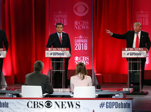 Republican presidential candidates Jeb Bush, left, Sen. Ted Cruz, center, and Donald Trump, right, participate in a Republican primary debate on Feb. 13, 2016, in Greenville, South Carolina.