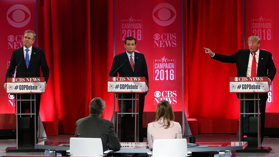 Republican presidential candidates Jeb Bush, left, Sen. Ted Cruz, center, and Donald Trump, right, participate in a Republican primary debate on Feb. 13, 2016, in Greenville, South Carolina. (Spencer Platt/Getty Images)