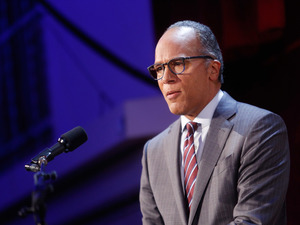 Lester Holt speaks on stage at an event at The Waldorf Astoria Hotel on Sept. 12, 2016 in New York City.