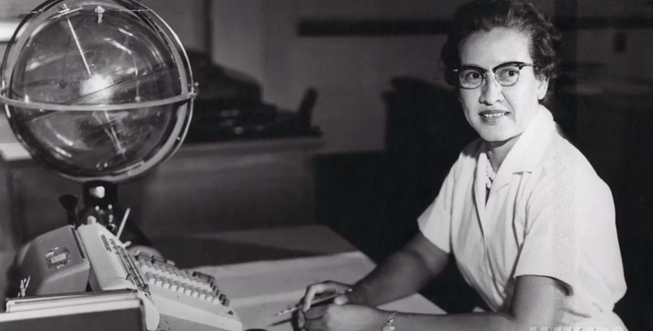 "<a href=""http://www.nasa.gov/sites/default/files/thumbnails/image/katherine_johnson_john_glenn.png""></a>Katherine Johnson sits at her desk with a globe, or ""Celestial Training Device."" (NASA/NASA)"
