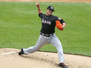 Miami Marlins starting pitcher José Fernández in the second inning of a game against the New York Mets in June 2013. Fernández died Sunday morning in a boating accident.