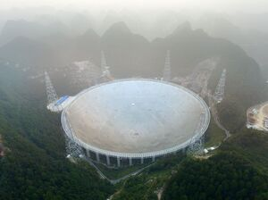 The Five-hundred-metre Aperture Spherical Radio Telescope (FAST) in Pingtang, China.