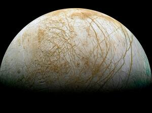 Europa is believed to have a vast subterranean, saltwater ocean that contains twice as much water as Earth's oceans.