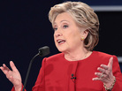 Left: Republican nominee Donald Trump speaks during the presidential debate at Hofstra University on Monday in Hempstead, N.Y. Right: Democratic nominee Hillary Clinton speaks during the debate.