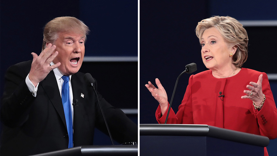 Left: Republican nominee Donald Trump speaks during the presidential debate at Hofstra University on Monday in Hempstead, N.Y. Right: Democratic nominee Hillary Clinton speaks during the debate. (Drew Angerer/Getty Images)