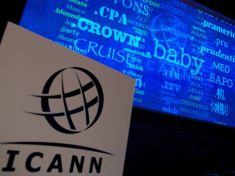 A screen at a 2012 press conference shows a rolling feed of new Web address endings, for which ICANN had received applications.