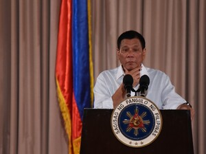 Philippine President Rodrigo Duterte speaks during a presidential awarding ceremony held at the Malacanang Palace in Manila, Philippines on Monday.