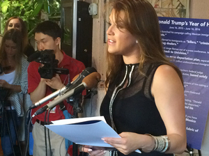 Former Miss Universe Alicia Machado speaks to reporters during a June press conference. Trump criticized her weight in the 1990s, and again after the first presidential debate.