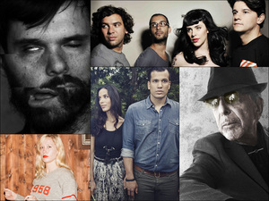 Clockwise from upper left: David Longstreth of Dirty Projectors, The Gift, Leonard Cohen, Johnnyswim, Julia Jacklin
