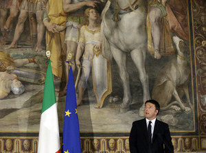 """Italian Prime Minister Matteo Renzi speaks at a meeting titled """"Italy, Europe, An Answer to Terror,"""" held at the Capitolini Museum in Rome last November. Renzi's government is offering all Italian 18-year-olds 500 euros to spend on cultural events. The goal is to educate and to help a growing number of young immigrants assimilate."""