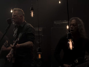 "A still from Metallica's ""Moth Into Flame"" video."