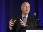 California Gov. Jerry Brown speaks at the Association of California Water Agencies conference, in Sacramento, Calif., in January.