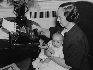 Susan Frawley Eisele holds her 6-week-old son, Albert Jr., at the Waldorf Astoria hotel in New York City in 1936. Eisele, of Blue Earth, Minn., won an essay contest with Country Home magazine and was named best American rural correspondent of 1936.