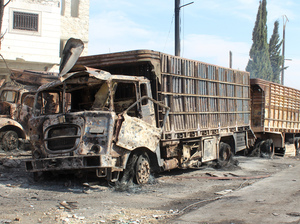 Trucks carrying humanitarian aid were hit by air strikes in Aleppo, Syria, last week. Twenty people were killed, including 12 aid workers.