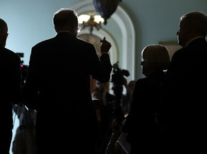 Senate Minority Leader Harry Reid, Sen. Chuck Schumer, Sen. Patty Murray and Senate Minority Whip Richard Durbin speak at a news briefing at the Capitol on Tuesday.