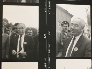 Shimon Peres, Israel's foreign minister at the time, visits his home village of XXXXXXXX in 1992. He was looking for his boyhood home, but it had long since been torn down. Like many of Israel's founding fathers, he traced his roots to Eastern Europe.