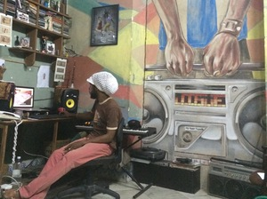 Cuban musician DJ Jigüe works in his studio in Centro Havana.