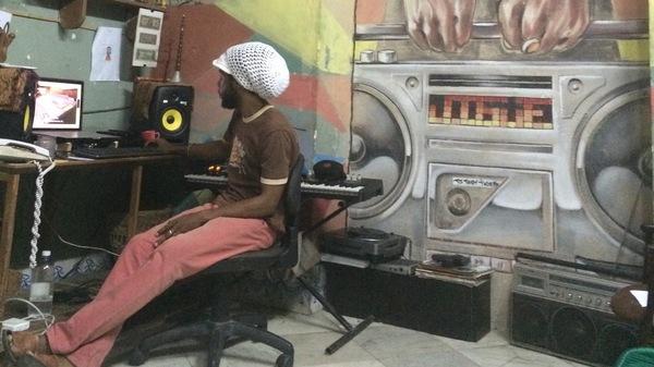 Cuban musician DJ Jigüe works in his studio in Centro Havana.