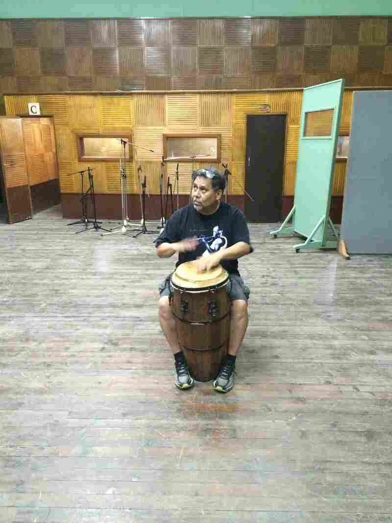 Here, I'm enjoying a moment playing conga with the spirits of my Cuban musical heroes in EGREM's historic Studio 101.