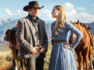James Marsden plays a tourist and Evan Rachel Wood is a rancher's daughter in the HBO series Westworld, which premieres Sunday at 9 p.m. ET.