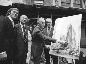 Donald Trump stands with New York Mayor Ed Koch, Gov. Hugh Carey, and Robert T. Dormer of the Urban Development Corp. at the launching ceremony of the New York Hyatt Hotel in June 1978.