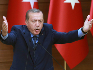 Turkish President Recep Tayyip Erdogan delivers a speech to provincial leaders in Ankara on Thursday.