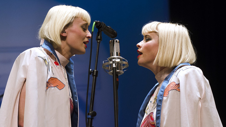 Lucius, performing live on <em>Mountain Stage</em>.